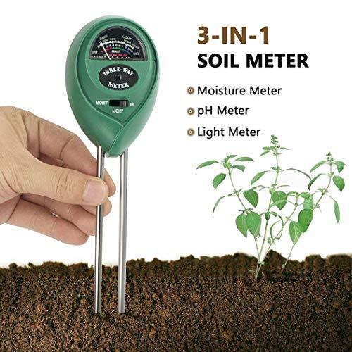 WICHEMI Soil pH Meter, 3-in-1 Soil Test Kit Moisture, Light & pH Tester for Home Garden, Lawn, Farm, Plants, Herbs & Gardening Tools, Indoor/Outdoors Plants Grow Soil Tester