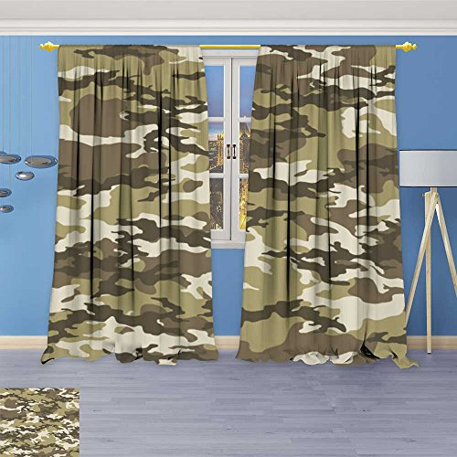 (SOCOMIMI Alta Pine Forest Design Collection,Fashionable camouflagevector Military Print Vector Wallpaper,Living Kids Girls Room Curtain, 96W x 96L inch)