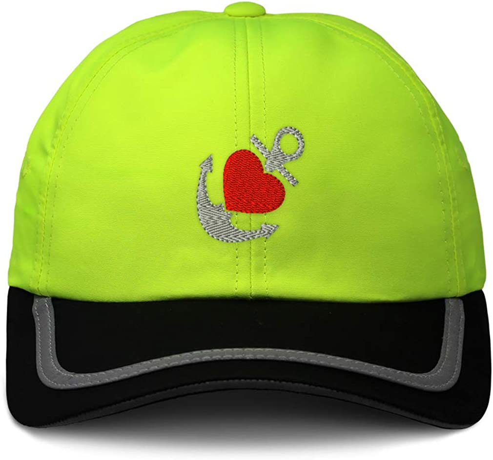Custom Reflective Running Hat Nautical Anchor with Heart C Embroidery One Size