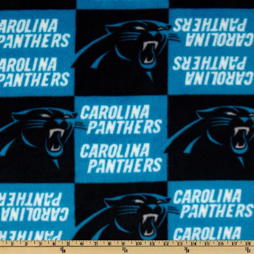 Fabric Traditions FU-098 NFL Fleece Carolina Panthers Fabric by The Yard, Turquoise/Black