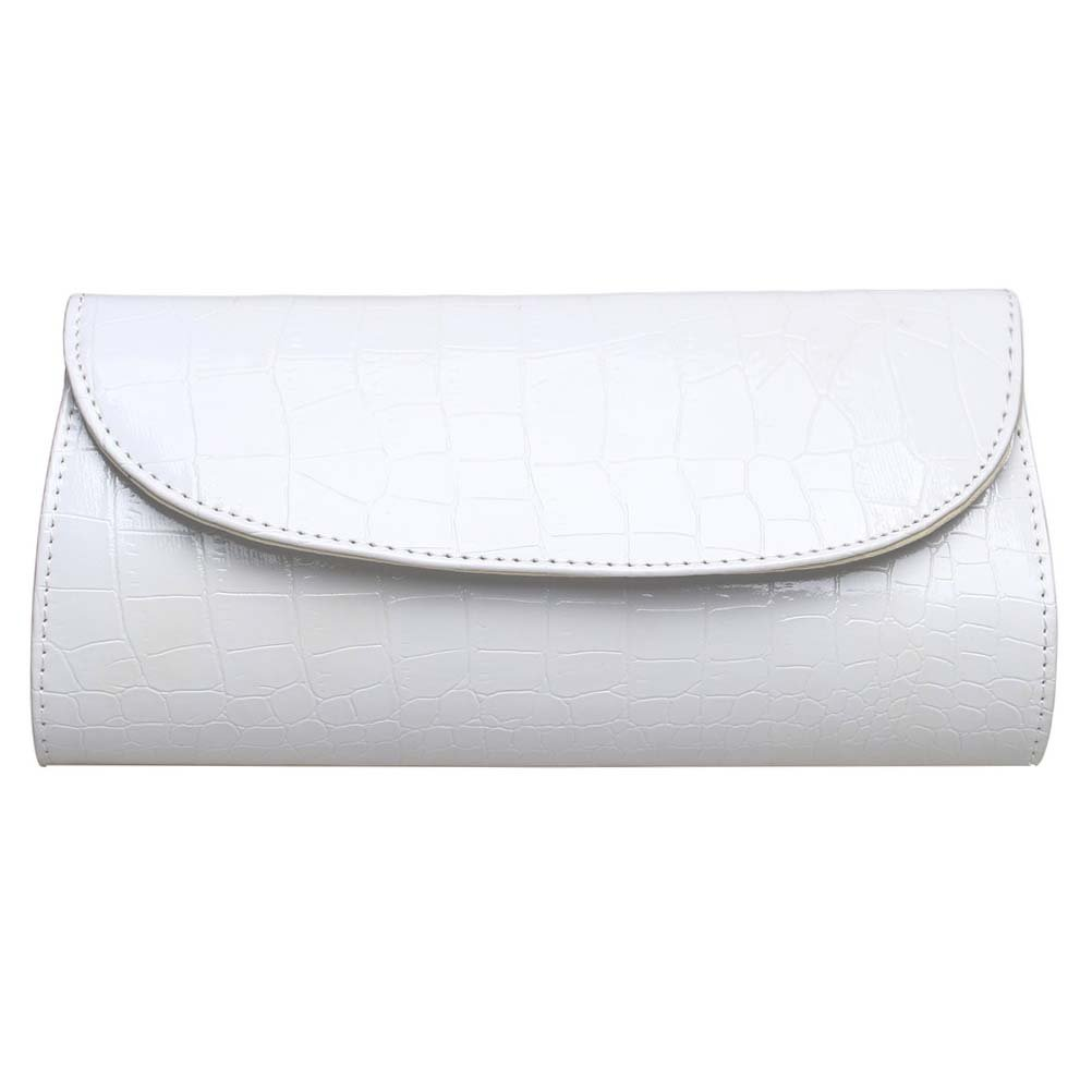 BaoLan Evening Clutch, Womens Croc Skin Embossed Clutch Purses For Party And Wedding White