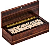 Bello Collezioni - Via Prato Luxury Italian Briarwood Double Six Professional Jumbo Dominoes Set from Italy