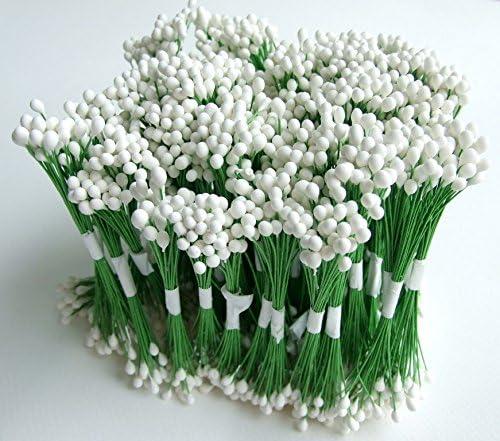 50pcs Beige Round Single Head Wired Rice Flower Flora Stamen Crafts Artificial