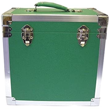 steepletone lpalbum vinyl dj record storage boxflight case green