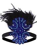 VIJIV 1920s Flapper Headband Inspired Art Deco Accessories Great Gatsby Headpiece Blue