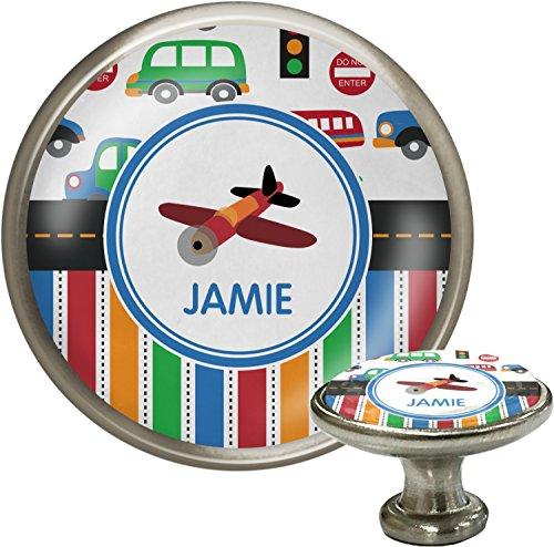 Drawer Knob Plane (Transportation & Stripes Cabinet Knob (Silver) (Personalized))