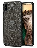 for iPhone XS Max Wood Case, Cool Walnut Wooden Engraving Totem Design Hybrid Rubber Slim Shock Absorption Heavy Duty Protective Bumper Case for iPhone XS Max