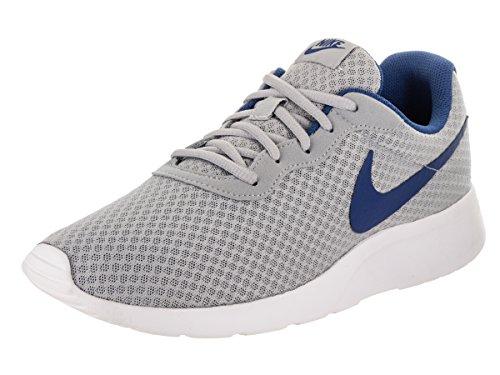 Blue Grey White Mens Sneakers - NIKE Men's Tanjun Print Running Shoe (9.5 D(M) US, Wolf Grey Gym Blue White)