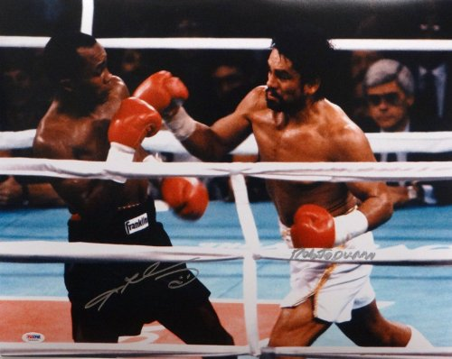- Roberto Duran Sugar Ray Leonard Autographed 16x20 Duran Swing Photo- PSA/DNA
