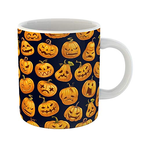 Emvency Coffee Tea Mug Gift 11 Ounces Funny Ceramic Halloween Scary Pumpkins Pattern Cartoon Lantern Skull Monster Fire Eyes Gifts For Family Friends Coworkers Boss -