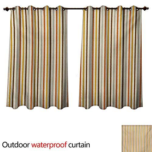 WilliamsDecor Vintage Outdoor Curtains for Patio Sheer Retro Nostalgic 60s 70s Fashion Stripes Vertical Pattern Vintage W96 x L72(245cm x 183cm)