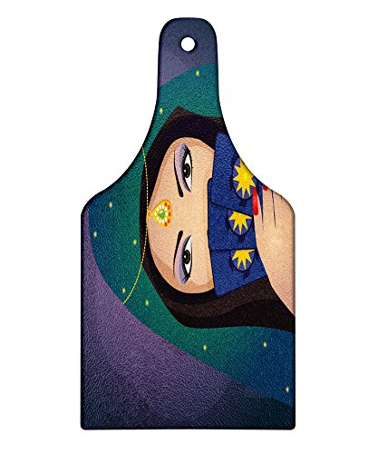Lunarable Gypsy Cutting Board, Fortune Teller Woman with a Shawl Holding Tarot Cards Mysterious Young Lady Portrait, Decorative Tempered Glass Cutting and Serving Board, Wine Bottle Shape, Multicolor -