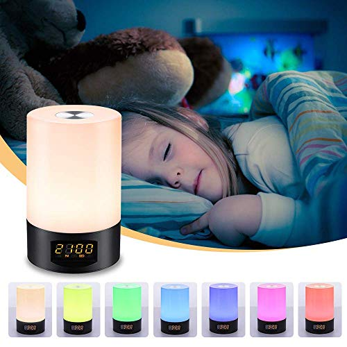 SOLMORE LED Wake Up Light Alarm Clock Sunrise Simulation Alarm Clock Lamp with 7 Colors Night Light Bedside Table Lamp Dimmable LED Mood Light, 6 Nature Sounds,3 Brightness, Touch Control, USB Charger -