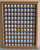 110 Golf Ball Display Case Wall Cabinet Holder, UV Protection door, Solid Wood (Oak Finish)