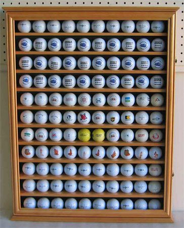 Genial 110 Golf Ball Display Case Wall Cabinet Holder, UV Protection Door, Solid  Wood (