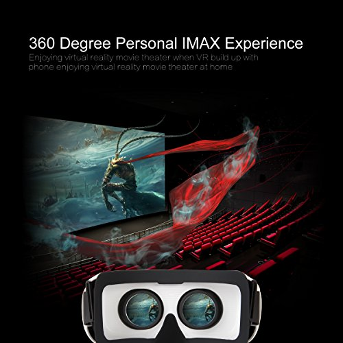 Crelander Virtual Reality Headset Bluetooth Built-in Eye Protected HD Adiustable Headset 3D Zoom Glasses with Adjustable Lenses & Head Strap for IMAX Movie Game Andriod/IOS Cellphone (Work with Siri) by Crelander (Image #2)