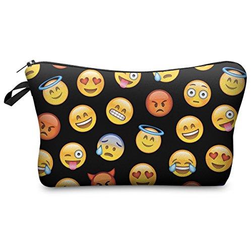 Kosmetiktasche Make Up Täschchen Mäppchen Federtasche Handytasche Full Print All Over Bag Aufbewahrungstasche Emoji Black [009]