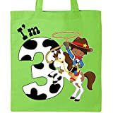 Inktastic - I'm Three-cowboy riding horse birthday Tote Bag Lime Green 2ca46