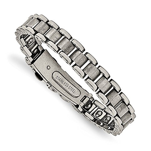 Jewel Tie Tungsten Polished and Matte Mens Bracelet 8.5