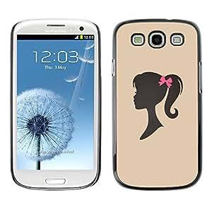 X-ray Impreso colorido protector duro espalda Funda piel de Shell para SAMSUNG Galaxy S3 III / i9300 / i747 - Girl Silhouette Bow Pink Hairdresser Beige