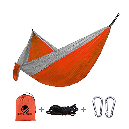 (Encounter Double Camping Hammock Outdoors - Lightweight Nylon Hammock, Parachute Fabric, Double Hammock for Backpacking, Hiking, Camping, Travel, Beach, Home Relaxing. 118