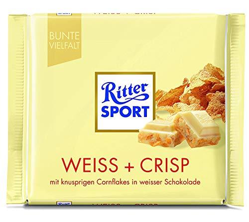 (Ritter Sport White + Crisp Chocolate Bar Candy Original German Chocolate 100g/3.52oz)