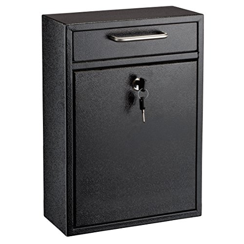 Mailbox Blk Wall (AdirOffice Locking Drop Box – Wall Mounted Mailbox – (Large, Black))