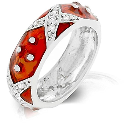 (Studded X Design Marbled Enamel Silver Colored Ring, Ruby Red- Size 10)
