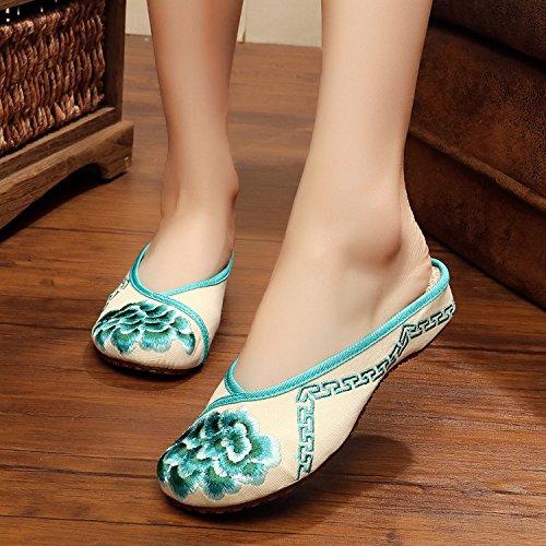 di unico donna green scarpe Scarpe vibrazione di singole Ballerine femminile caduta sandali tendine Chnuo stile Scarpe ricamate modo etnico comodo 8qWfYnY