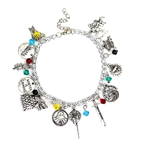 GOT Inspired Silver-toned Bracelet with 12 Assorted Multiple Logo Charms,Fantastic Fans' Collectible Jewelry Merchandise (She Hulk Costume Kids)