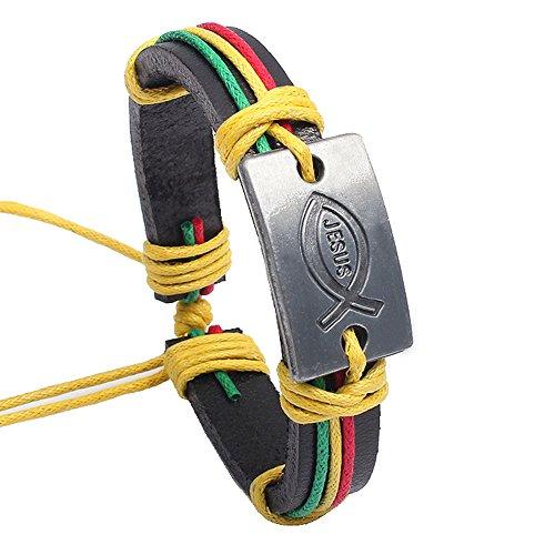 - Botrong Handmade Vintage Bangle Men's Women's Unisex Faux Leather Braid Bracelet (Multicolor)