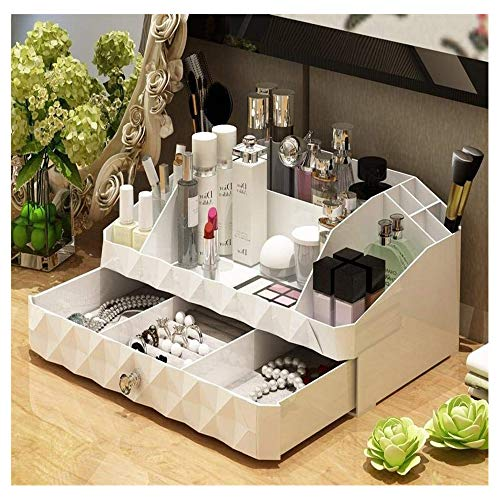 Maxkim Makeup Organizer Jewelry and Cosmetic Storage, Large Capacity,Fit Different Size of Cosmetic,Brushes,Palettes,Lipsticks,2 Drawer 9 Compartment (Medium)