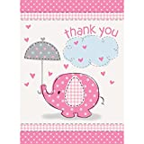 Pink Elephant Girl Baby Shower Thank You Cards, 8ct
