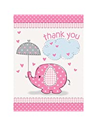 Pink Elephant Girl Baby Shower Thank You Cards, 8ct BOBEBE Online Baby Store From New York to Miami and Los Angeles