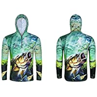 UV Protection Long Sleeve Fishing Sun Shirt Quick Dry Breathable Hooded Tops-XL Size