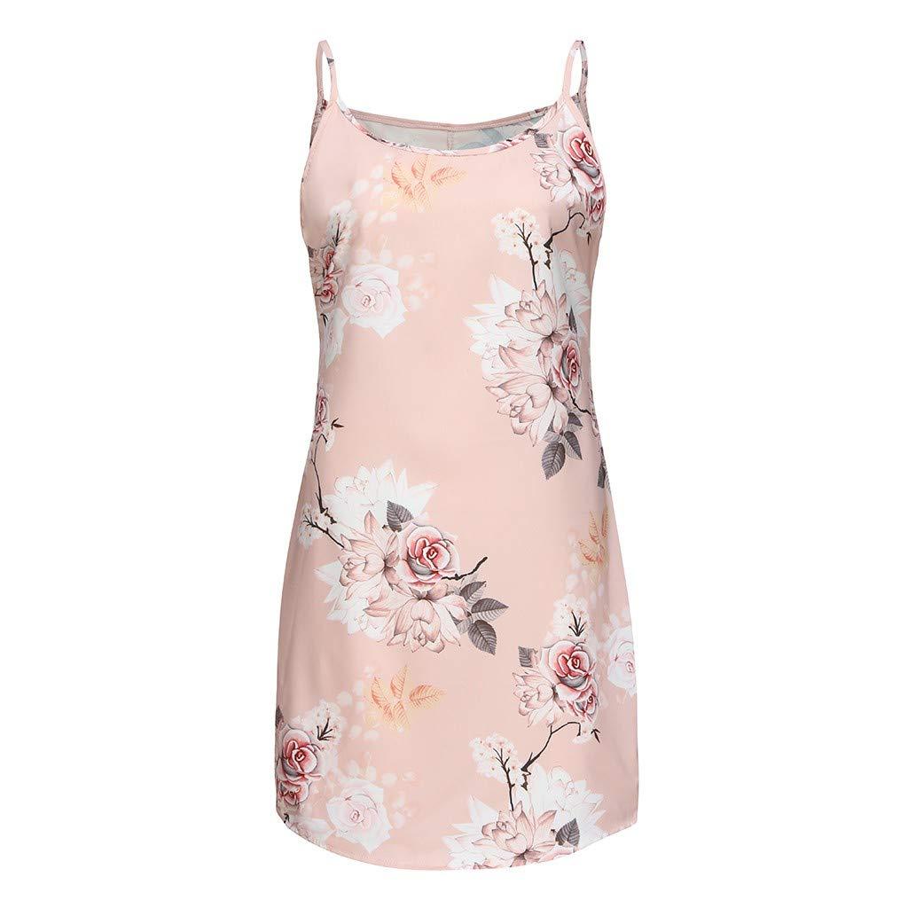 Myoumobi_ Women Fashion Floral Print Dress Loose O Neck Sleeveless Mini Dress Summer Casual Spaghetti Strap Sundress Pink by Myoumobi_Dress (Image #2)