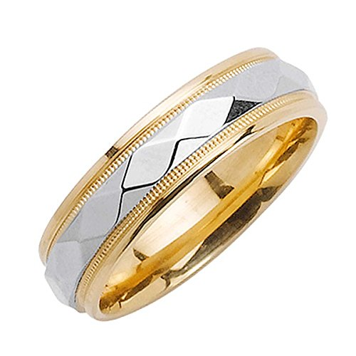 18K Two Tone Gold Diamond Pattern Men's Stone Finish Comfort Fit Wedding Band (6mm) Size-13.5 (Diamond Wedding Contemporary Bands)