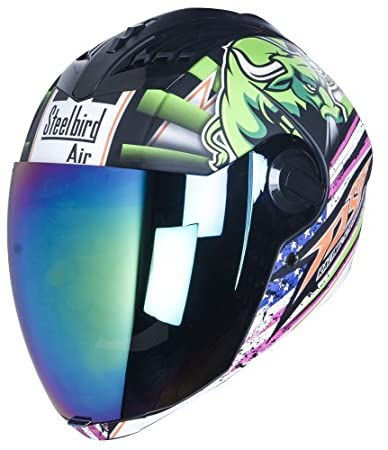 97bf6f80 Image Unavailable. Image not available for. Colour: STEELBIRD HELMET SBA-2  HORN MATT BLACK/GREEN WITH RAINBOW VISOR ...