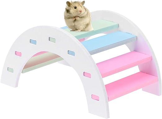 POPETPOP Escalera de hámster Puente del Arco Iris Animales Jaula Accesorios pequeños Juguetes de Entrenamiento para Mascotas para Erizo Chinchilla Hamster: Amazon.es: Productos para mascotas