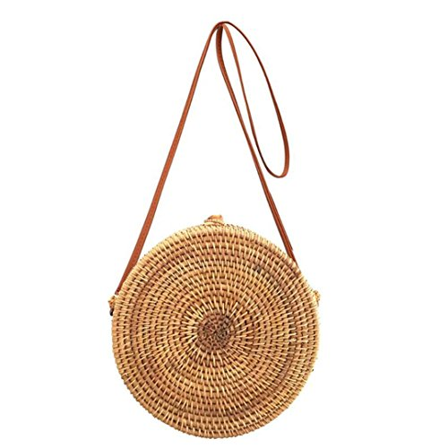 Cross Bali Bobomimi Handbag Bag Women Woven Straw Beach Handmade Vintage Body Summer Rattan Bags Round Bohemia Circle qqPZ4RaB