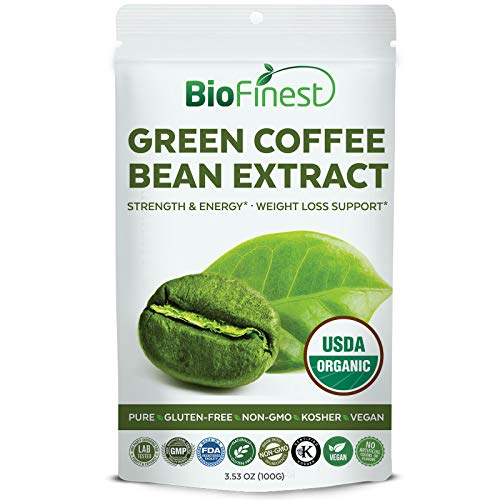 Biofinest Green Coffee Bean Extract Powder 100mg - USDA Certified Organic Pure Gluten-Free Non-GMO Kosher Vegan Friendly - Supplement for Weight Management, Healthy Metabolism (100g)