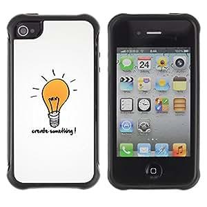 """Pulsar iFace Series Tpu silicona Carcasa Funda Case para Apple iPhone 4 / iPhone 4S , Creatividad Cita de motivación de la bombilla de Arte"""""""