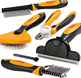 Friends Forever 6 in 1 Professional Pet Grooming Kit Box - Cats Dogs Nail Clippers & File, Wire Dog Brush/Slicker Brush, Deshedding Tool, Dematting Comb, Undercoat Rake