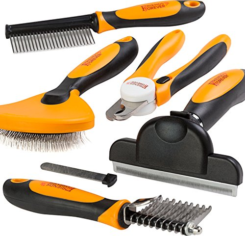 Friends Forever 6 in 1 Professional Pet Grooming Kit - Large Dog Nail Clippers & File, Wire Dog Brush/Slicker Brush Dogs, Deshedding Tool, Dematting Comb, Undercoat Rake - Full Cat Brushes Grooming