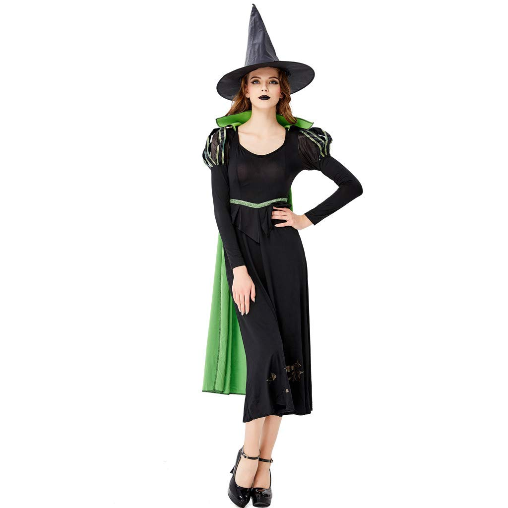 Onegirl Halloween Festival Cosplay Clothes for Women Witch Costume Set with Hat Cloak Long Sleeve Dress Black