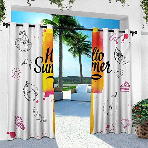 leinuoyi Ice Cream, Outdoor Curtain Ends, Hello Summer Motivational Quote with Lime Heart Sun Cake Color Splashes Image, Balcony Curtains W96 x L108 Inch Multicolor
