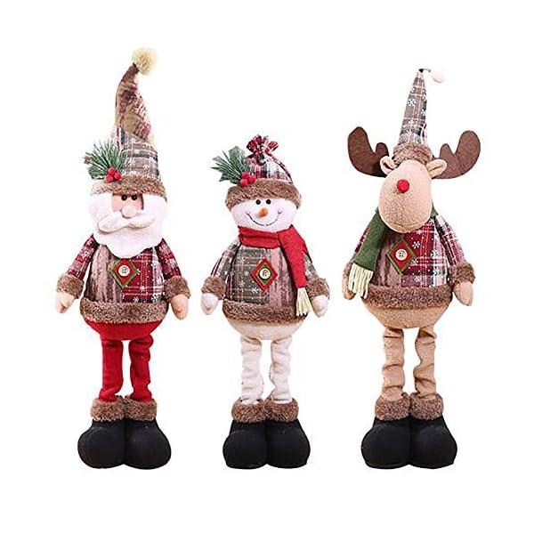 Afaneep Decorazione Natalizia Gnomo 60 cm di Altezza Gambe Retrattili Fatte a Mano Pupazzo di Neve di Natale Bambole di Pezza Babbo Natale Pupazzo di Neve Alce Natale Decorazione e Regalo 2 spesavip