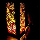 electric slimline fireplaces - 2 X Yellow Red of Dragon Handmade Asian Oriental Wood Light Night Lamp Shade Table Desk Art Gift Home Vintage Bedroom Bedside Garden Living Room (Copter Shop)