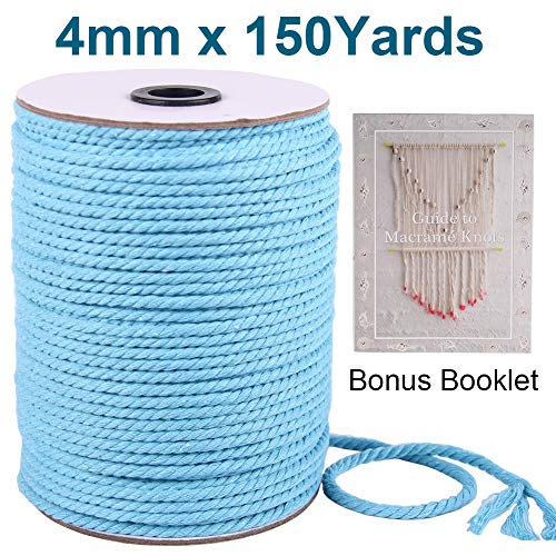XKDOUS Colored Macrame Cord Lake Blue 4mm, Colorful Sky Blue Cotton Macrame Rope, 3 ply Twisted Cotton Cord, Blue Cotton Rope for Macrame Wall Hanging, Plant Hangers, Pet Toys, Knitting, Decoration