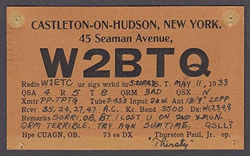 W2BTQ Thurston Paul Jr 45 Seaman Ave Castleton-on-Hudson NY QSL postcard 1933